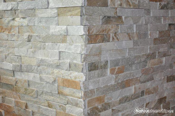 Goud Kwartsiet Natuursteenstrips kunnen met hoekstukken eenvoudig worden verwerkt.