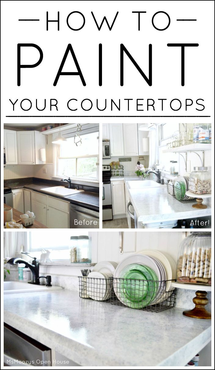 How To Paint Your Countertops To Look Like Marble! DIY Kitchen Makeover On  A Budget