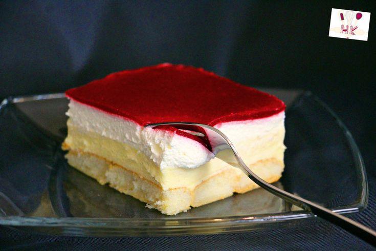 Kuchen ohne Backen - Himbeer-Puddingcreme Schnitten / Kolač bez die und das   Kremaste kocke sa preljevom od malina