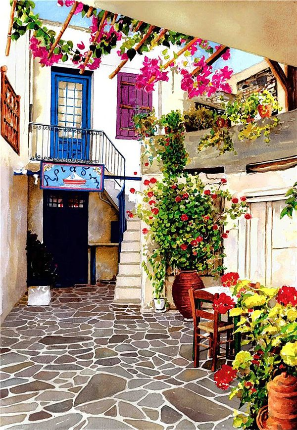 Watercolor Painting of Greece by Pantelis Zografos