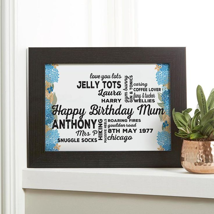 Create your personalised print or canvas with a floral background as a unique Birthday gift of word art. See your design preview on screen before you buy