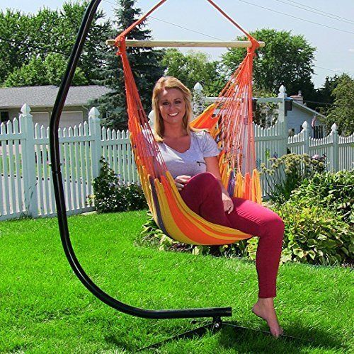 Hammock Chair Swing Patio Durable Hanging Rope With Cushions Seat Outdoor Garden #HammockChairSwing