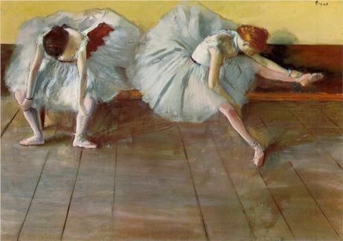 Two Ballet Dancers - Edgar Degas ,pastel http://paintwatercolorcreate.blogspot.com/2013/05/composed-by-degas.html