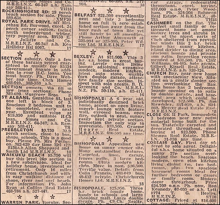 Christchurch, New Zealand home prices back in 1975. Taken from the Christchurch Star Newspaper.