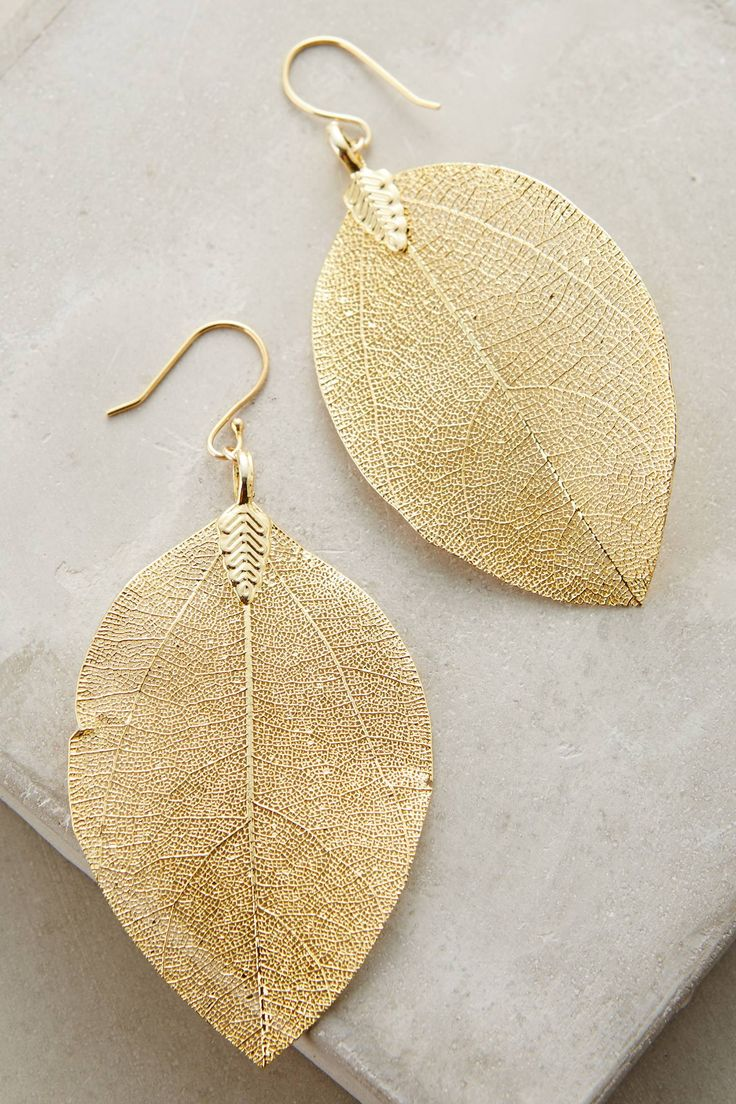 Golden Leaf Earrings | Pinned by topista.com                                                                                                                                                                                 More