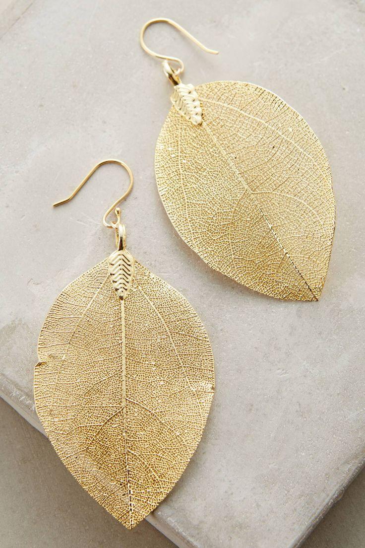 Golden Leaf Earrings | Pinned by topista.com                                                                                                                                                                                 More