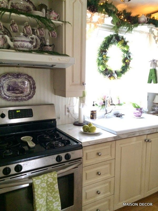 A Holiday Kitchen With Fresh Greens And Old Purple Dishes! A Moss Monogram  From HomeGoods
