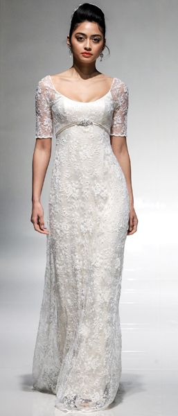 Lace and satin wedding dress. Pilar by Emma Hunt.  Wedding dresses by emmahunt.co.uk.