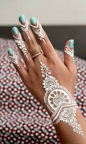 Beautiful White Henna Designs On Our Hands