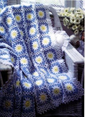 Blue and white flower granny blanket with diagram, click on the image to enlarge