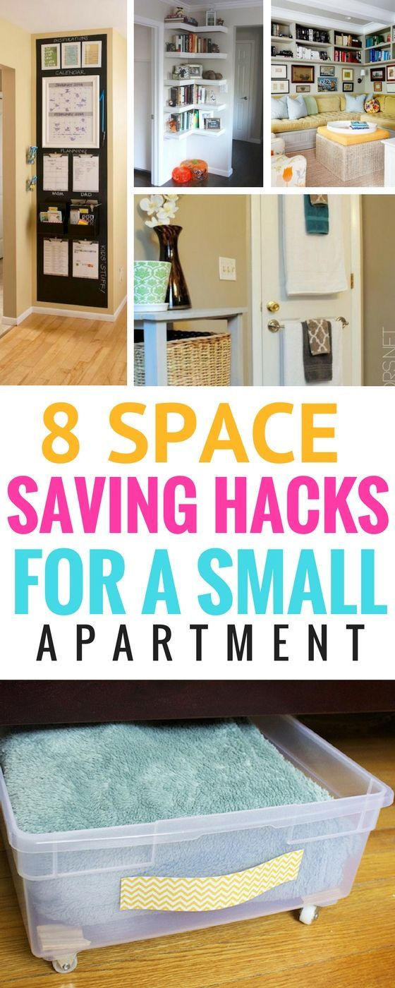 8 Space Saving Hacks For Your Small Apartment - Learn how to create more space for small spaces with these great organization hacks |  Organization Tips For Small Spaces