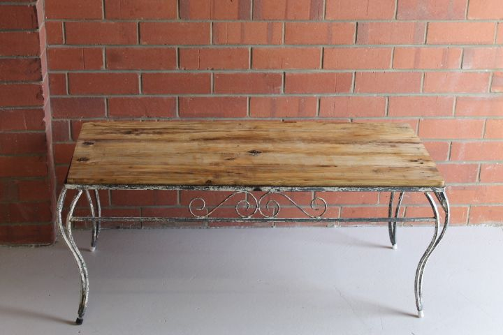 Up cycled  table wrought iron, shabby style with recycled pallet timber top.