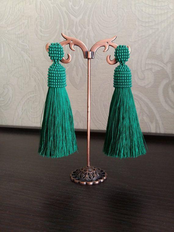 Earrings with tassels. Long earrings. Earrings by JewelryByYulia