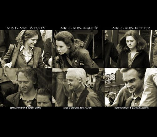 haha look at them! :)  19 years later is it just me or is that not the same makeup they wore in the film in 19 years later?!? Hermione's hair was up & Ron's & Draco's wasn't long!