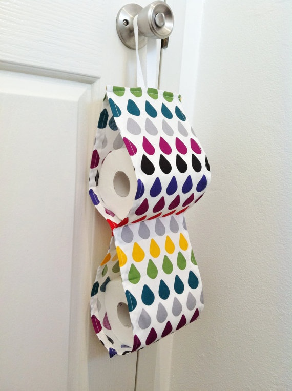 Rainbow Raindrops Toilet Roll Holder