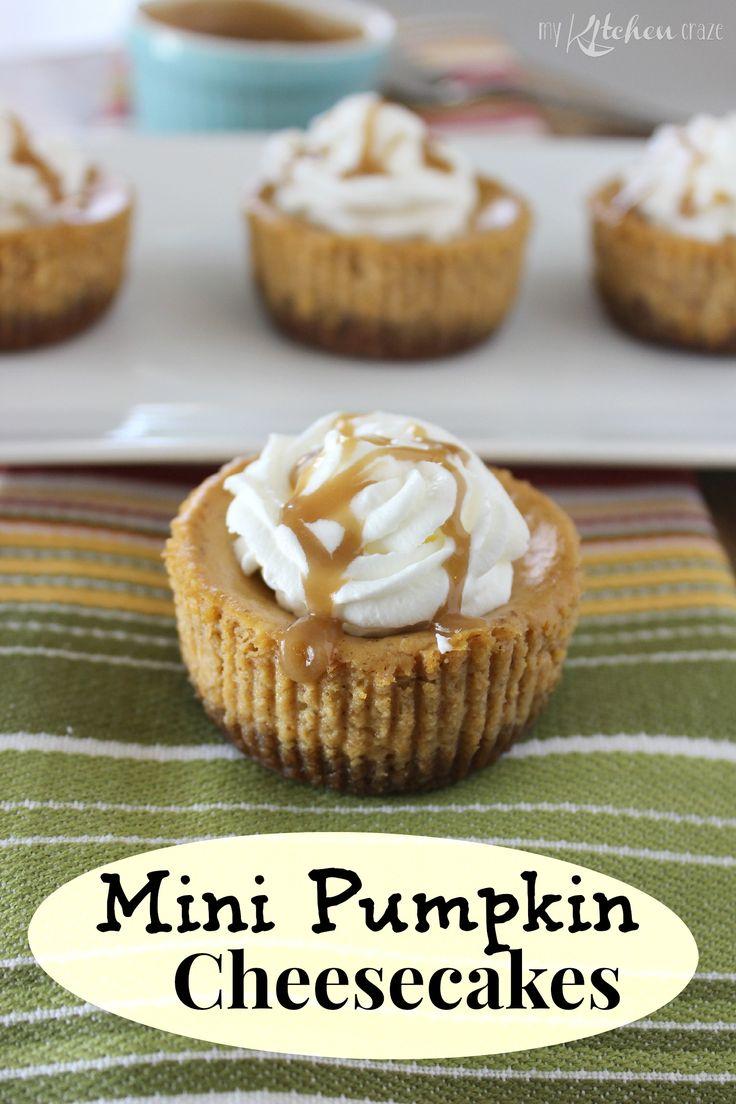 Mini Pumpkin Cheesecakes from My Kitchen Craze. Make GF by using gf graham crackers or gf alternative.
