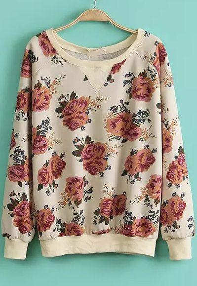 Shop Apricot Long Sleeve Rose Print Sweatshirt online. Sheinside offers Apricot Long Sleeve Rose Print Sweatshirt & more to fit your fashionable needs. Free Shipping Worldwide!