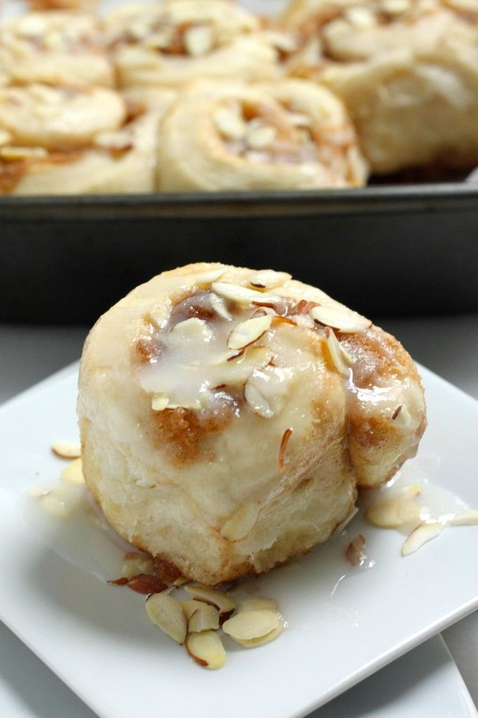 Triple Almond Sticky Buns made with almond milk! So soft and fluffy and full of cinnamon sugar flavor.