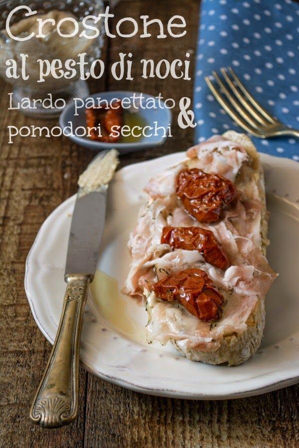 Crostone con Noci, lardo pancettato e pomodori secchi... per Taste