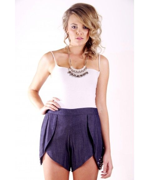 JONTE' BEADED TULIP SHORTS - BLUE  ·     Designed in Perth, Western Australia  ·     Made from 100% cotton   ·     Featuring tulip peatals on sides of shorts  ·     Femine realxed design with a cheeky cut fit.  ·     Model wears size 8