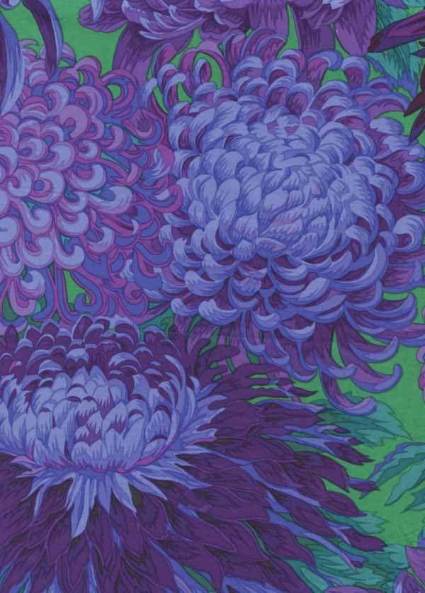 Kaffe Fassett Japanese Chrysanthemum Purple Flower Fabric 1 yard. $9.50, via Etsy.