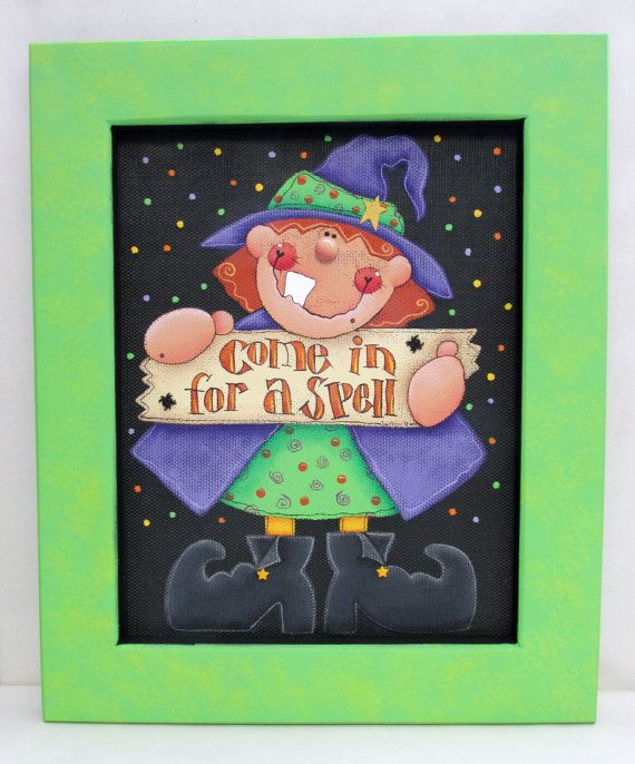 whimsical halloween witch with sign come in for a spell tole painted reclaimed