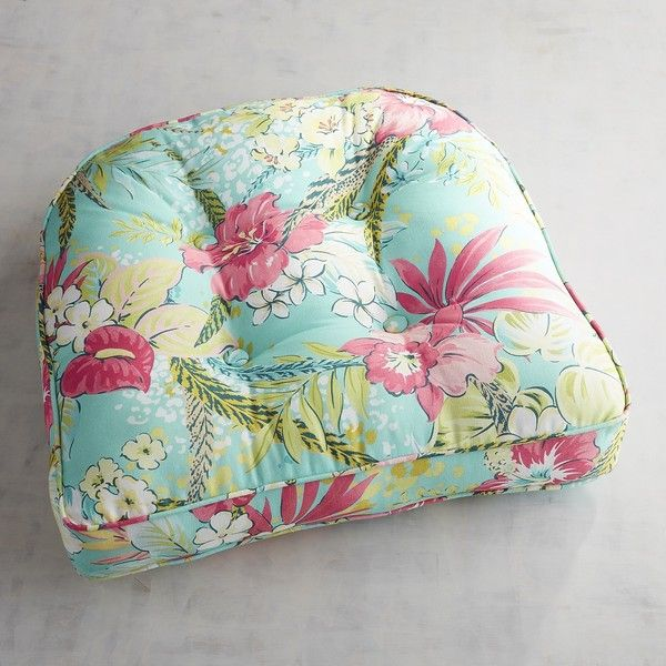 Pier 1 Imports Large Contour Chair Cushion In Isla Tropical ($25) ❤ liked on Polyvore featuring home, outdoors, patio furniture, turquoise, tropical outdoor furniture, flower stem, tropical patio furniture, pier 1 imports outdoor furniture and pier 1 imports