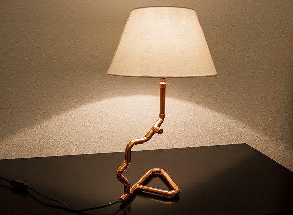 Tischlampe Leselampe Kupferlampe Designlampe Leuchte Schreibtischlampe beige Desk Lamp Table Lamp copper