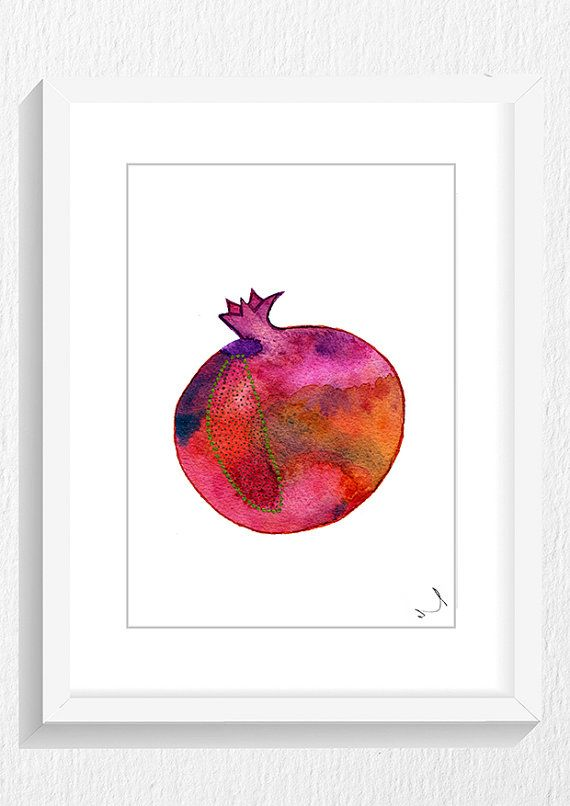 pomegranate art Watercolor Painting Silhouette by ArtistiCorner, €20.00