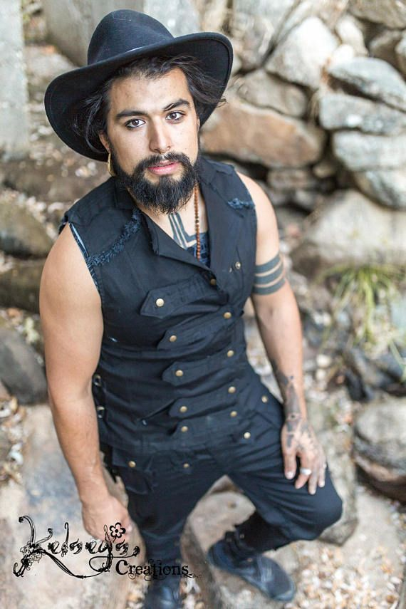 Steampunk - Mens Pirate Suit   Black   Steampunk   Festival Wear   Burning Man   Marching Band   Hipster   gift for husband Festival Vest Sea Rover suit by KelseysCreationsShop