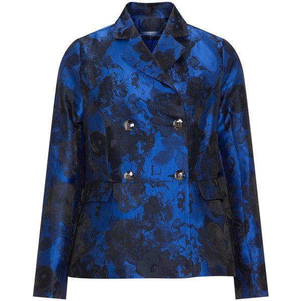Manon Baptiste Dark-Blue Plus Size Double breasted jacquard blazer (2,350 MXN) ❤ liked on Polyvore featuring outerwear, jackets, blazers, plus size, plus size blue blazer, floral blazer, dark blue blazer, blazer jacket and plus size fitted blazer
