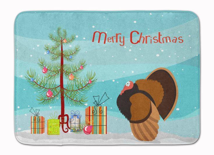 Bronze Turkey Christmas Machine Washable Memory Foam Mat BB9353RUG