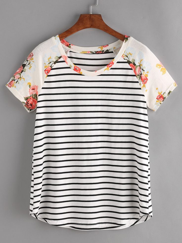 Shop Floral Raglan Sleeve Striped Tee online. SheIn offers Floral Raglan Sleeve Striped Tee & more to fit your fashionable needs.