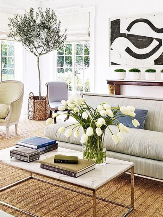Indoor olive tree in traditional living room on Thou Swell /thouswellblog/