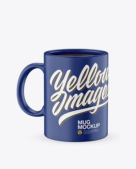 Matte Mug With Tea Bag & Spoon Mockup (High-Angle Shot)
