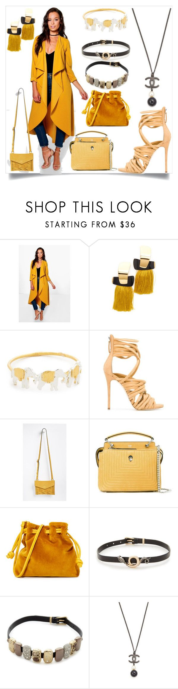 """""""Waterfall Duster"""" by camry-brynn ❤ liked on Polyvore featuring Boohoo, Lizzie Fortunato, Alex Monroe, Giuseppe Zanotti, Welden, Fendi, Clare V. and Alexis Bittar"""