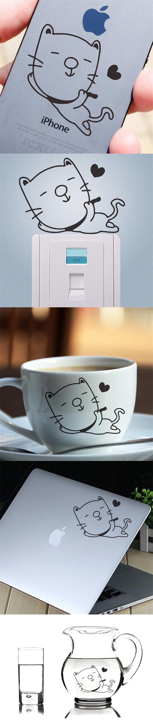 Black DIY small cute Cat home decoration wall stickers removable adesivo de parede cup phone switch computer decal $1