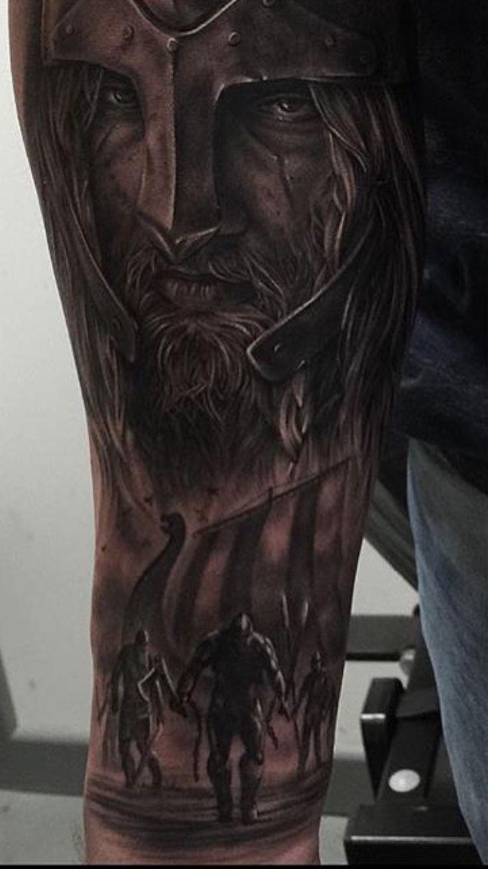 The start of my sleeve so far #Vikings #Nordic #Tattoo #Viking #Longboat #Sleeve