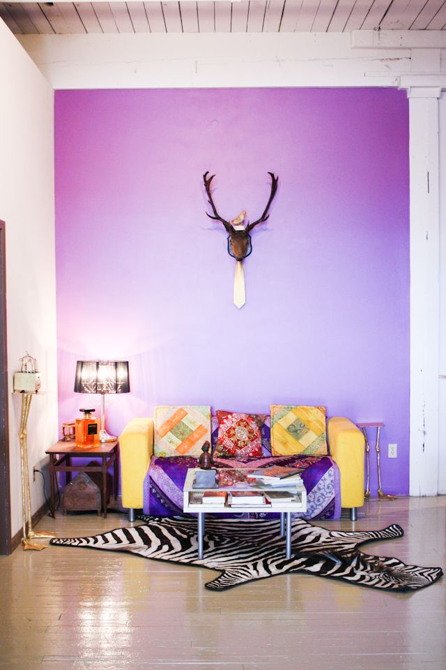 purple entryway of bemis building artist's loft (photograph by Melanie Biehle)