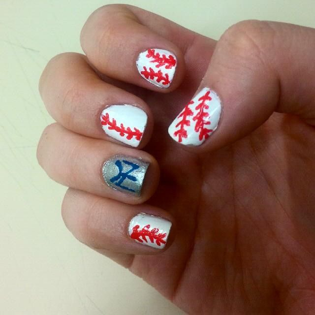 I tried. Game tomorrow!!!! #yankees #nails #nailart #tried #wishthiswasmyjob #excited