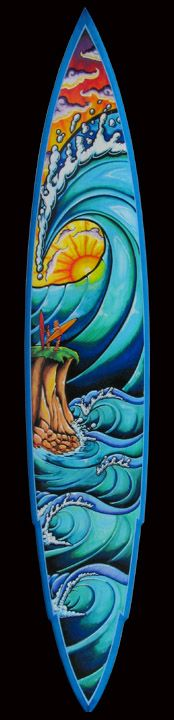 Custom Art painted on Surfboards for Companies and Private Collectors