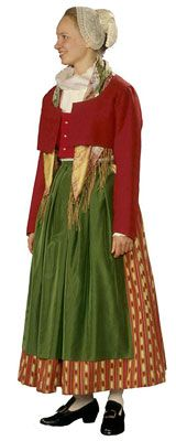 Traditional Finnish folk costume, a woman´s dress representing the region of Vanha Korpilahti