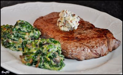 Beef steak with spinach ...