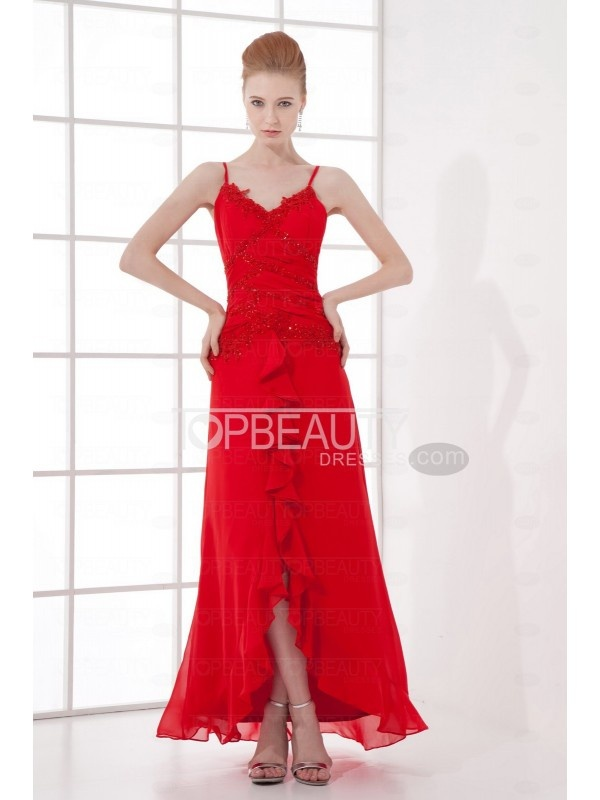 Chiffon Red Evening Dress #red #evening #chiffon #gowns