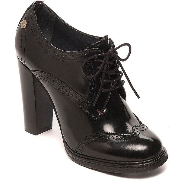 Tommy Hilfiger Heeled Brogue ($180) ❤ liked on Polyvore featuring shoes, oxfords, wingtip shoes, oxford lace up shoes, perforated leather shoes, leather oxfords and leather brogues