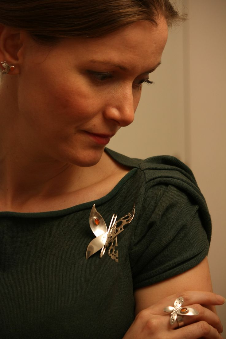 Kinetic silver brooch / ring and earrings