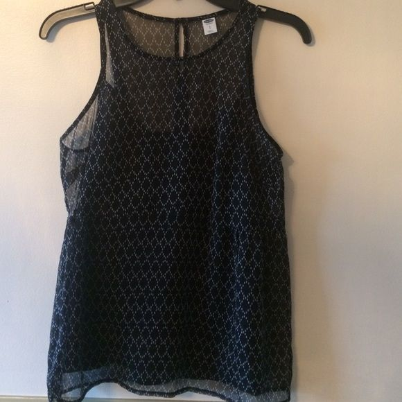 Patterned shell and cami top Black and white patterned sheer shell with attached black cami liner. Flowy top. Old Navy Tops Blouses