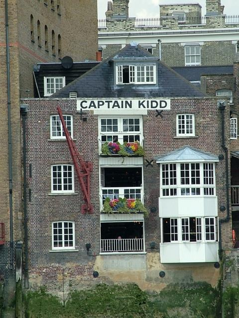 The Captain Kidd public house on the River Thames at Wapping. It is close to where Execution Dock stood where pirates were hanged.  Captain William Kidd was a Scottish colonial ship-owner in 1690s' New York. He became a privateer (to hunt and capture pirates) and later turned to piracy himself; he w...