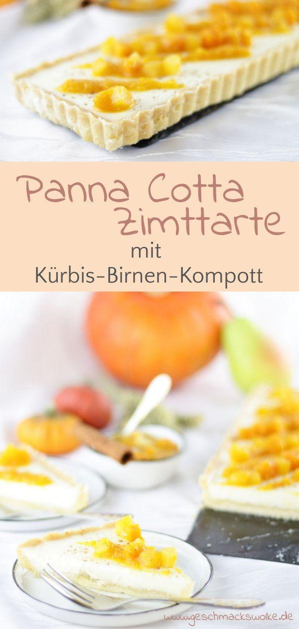 Autumnal Panna Cotta cinnamon tart with pumpkin and pear  – Herbst – Rezepte