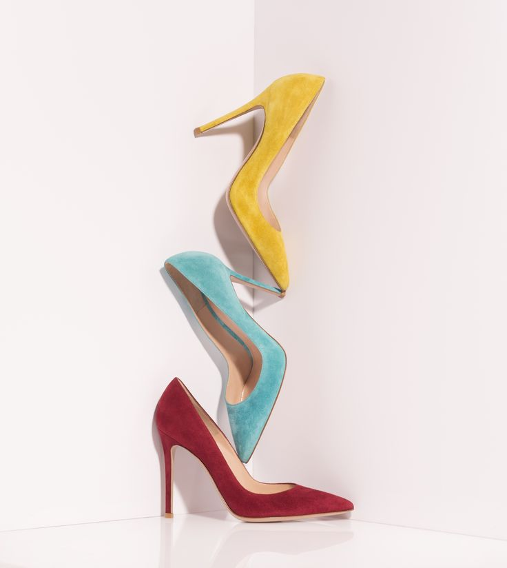 The Gianvito pumps in mustard, cyan and tamarind suede
